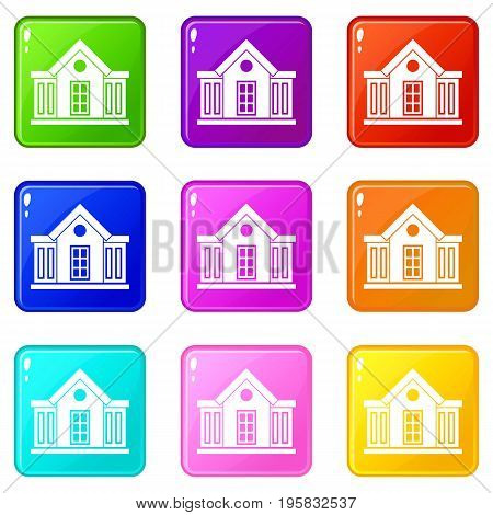Mansion icons of 9 color set isolated vector illustration