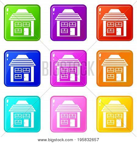 Two-storey house with sloping roof icons of 9 color set isolated vector illustration