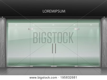The glass facade of the shopping center building is a shop, airport, railway station with entrance doors. Transparency of the glass. Vector graphics