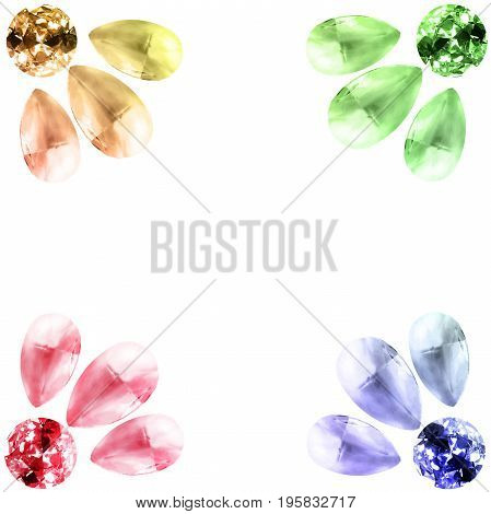 Group of colorful gemstones on white background