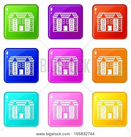 Large two-storey house icons of 9 color set isolated vector illustration