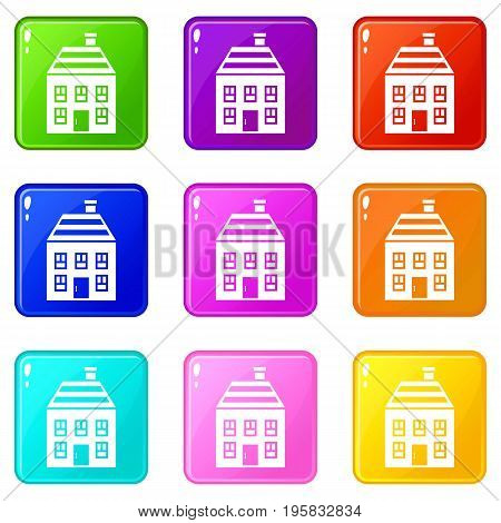 Two-storey house with chimney icons of 9 color set isolated vector illustration