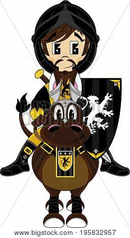 Cute Cartoon Medieval Crusader Knight on Horse with Shield