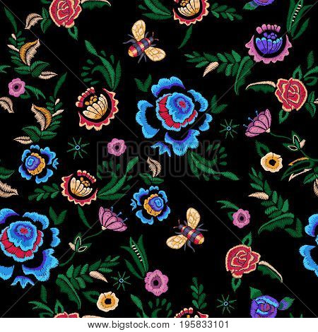 Embroidery seamless pattern with fantasy simplify flowers. Vector embroidered floral patch for clothing design.