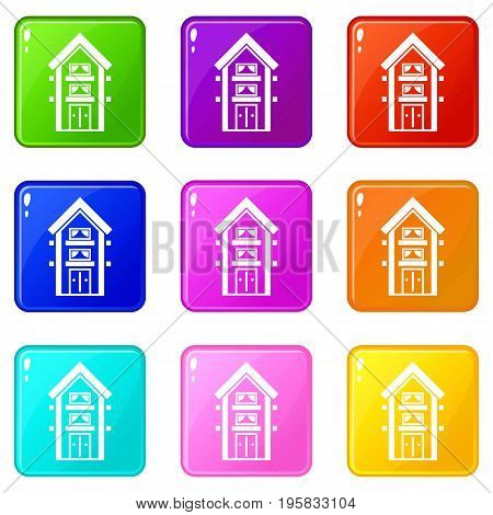 Two-storey house with balconies icons of 9 color set isolated vector illustration