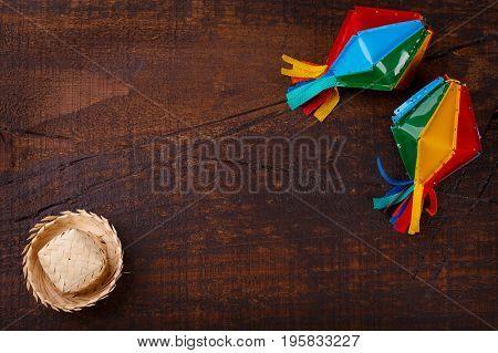 Wooden Background With Wicker Hat For Brazilian Festivel Festa Junina
