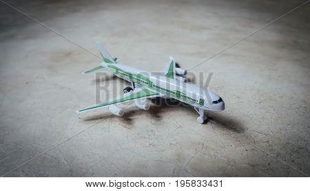White platoon plane on cement floor, plane