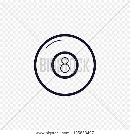 Pool eight ball line icon. Billiard game thin linear signs. Outline magic ball simple concept for websites, infographic, mobile app.