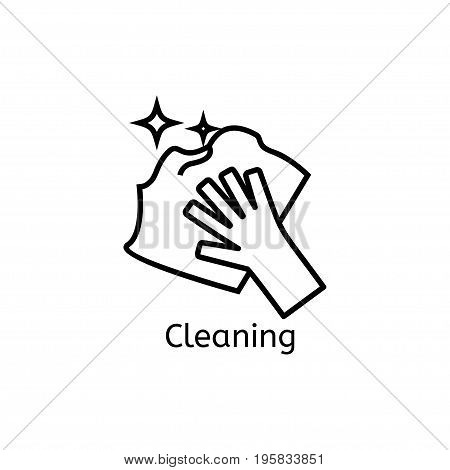 Hand Holding Simple Line Icon. Cleaning Thin Linear Signs. Clean And Shine Simple Concept For Websit
