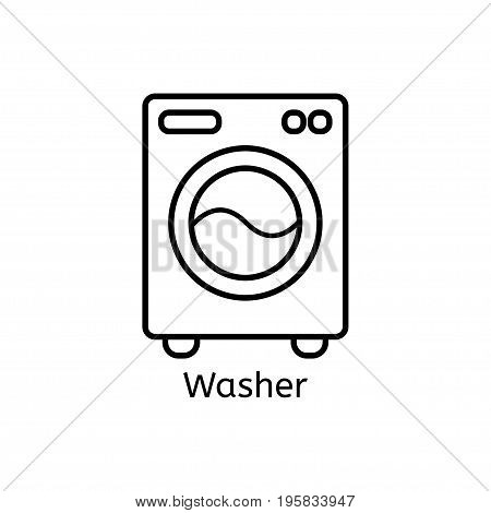 Washer Simple Line Icon. Washing Maсhine Thin Linear Signs. Washing Clothes Simple Concept For Websi