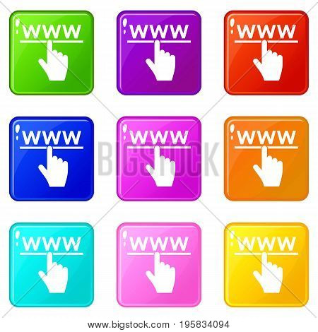 Hand cursor and website icons of 9 color set isolated vector illustration