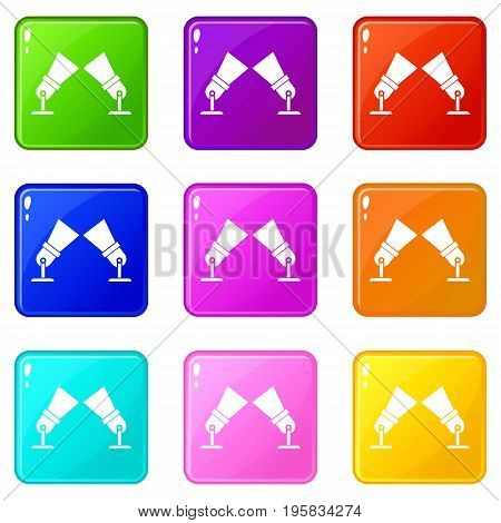 Floodlights icons of 9 color set isolated vector illustration