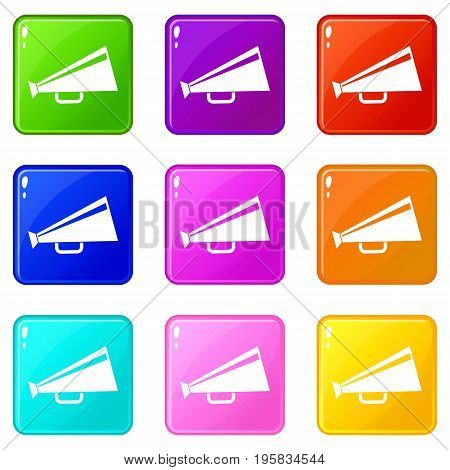 Mouthpiece icons of 9 color set isolated vector illustration