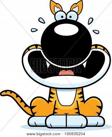 Scared Cartoon Tasmanian Tiger