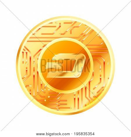 Bright golden coin with microchip pattern and Dash sign. Cryptocurrency concept isolated on white