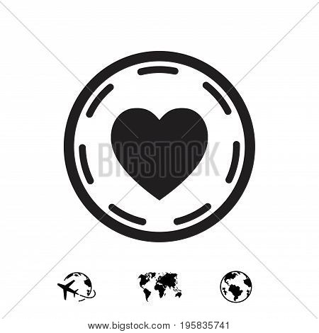 heart in circle icon stock vector illustration flat design
