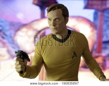Star Trek scene with Captain Kirk action figure standing in front of the Guardian of Forever time portal.