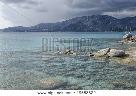 View of the turquoise sea of South Sardinia