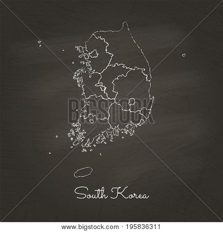 South Korea Region Map: Hand Drawn With White Chalk On School Blackboard Texture. Detailed Map Of So