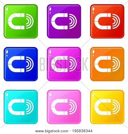 Magnet icons of 9 color set isolated vector illustration