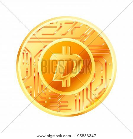 Bright golden coin with microchip pattern and Digibyte sign. Cryptocurrency concept isolated on white