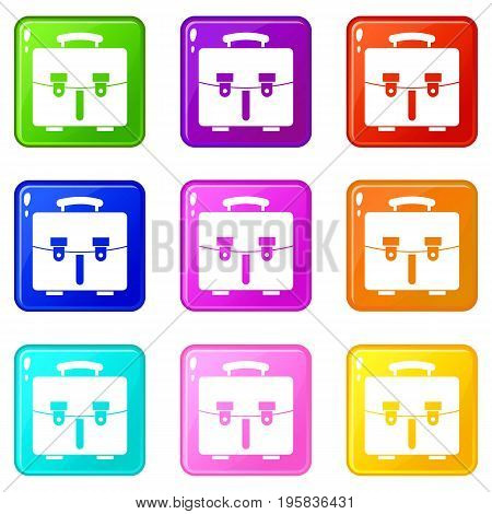 Diplomat bag icons of 9 color set isolated vector illustration
