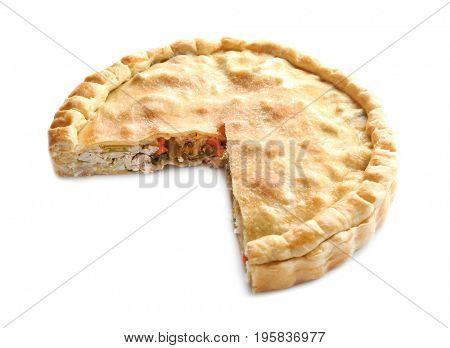Delicious turkey pot pie on white background