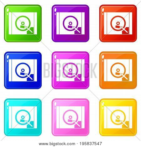 Turntable icons of 9 color set isolated vector illustration