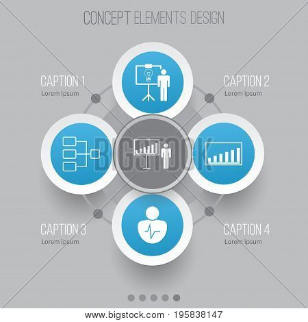 Authority Icons Set. Collection Of Project Presentation, Company Statistics, Solution Demonstration And Other Elements