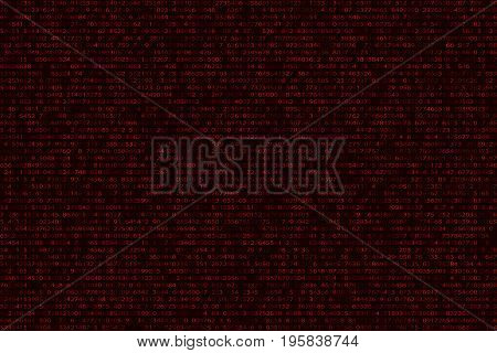 Abstract futuristic background from a binary binary code on a black background. Web programming in design. Modern technologies. The system is in danger. Vector illustration