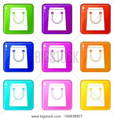 Paper bag icons of 9 color set isolated vector illustration