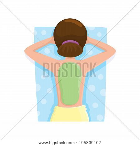 Young woman getting algae mask, mud treatment in spa salon, top view cartoon vector illustration on white background. Top view picture of woman getting mud, algae mask on her back in spa salon