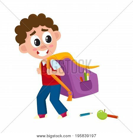 Little boy, kid going to school with big backpack, schoolbag loosing pencils on the way, cartoon vector illustration isolated on white background. Boy, kid going to school with big schoolbag, backpack