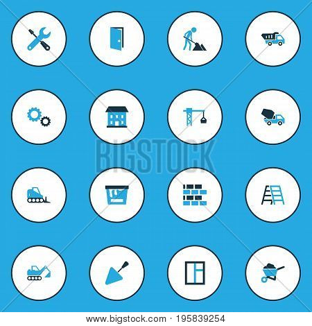 Construction Colorful Icons Set. Collection Of Cement Vehicle, Gear, Open And Other Elements