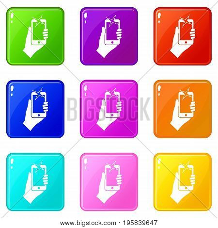 Hand photographed on mobile phone icons of 9 color set isolated vector illustration
