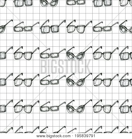 Different glasses types seamless pattern, hand drawn doodle style vector. Black and white sketch illustration on notebook paper background.