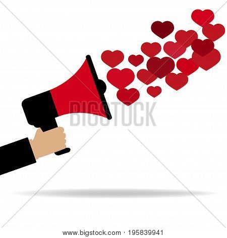 Red megaphone from which fly out of the heart