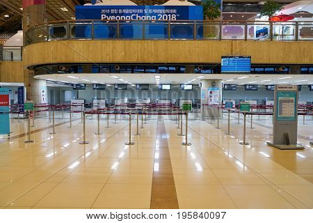 SEOUL, SOUTH KOREA - CIRCA MAY, 2017: check-in area at Gimpo Airport International Terminal. Gimpo International Airport is located in the far western end of Seoul.