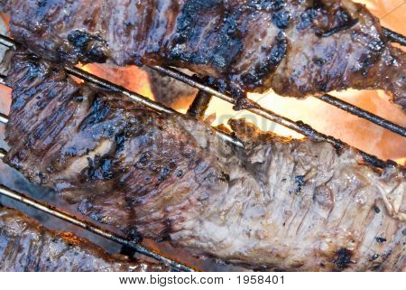 skirt steak on the hot flaming barbecue grill poster