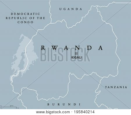 Rwanda political map with capital Kigali. Republic and sovereign state, located in Central and East Africa. Country in the African Great Lakes region. Gray illustration with English labeling. Vector.