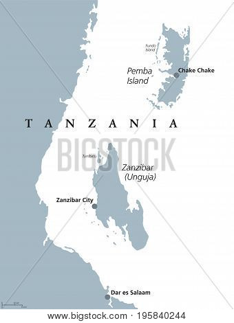 Zanzibar and Pemba Island political map. Semi-autonomous region of Tanzania in East Africa. Zanzibar Archipelago in the Indian Ocean. Gray illustration on white background. English labeling. Vector.