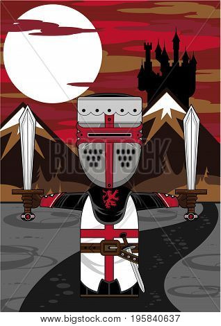 Cute Cartoon Medieval Crusader Knight with Swords and Castle Background