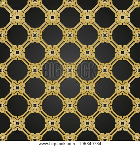 Seamless vector ornament in arabian style. Geometric abstract black and golden background. Pattern for wallpapers and backgrounds