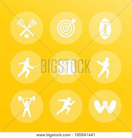 sports icons set, archery, boxing, lacrosse, cricket, running, arm wrestling, fencing, football, weightlifting