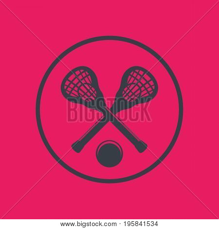 Lacrosse icon in circle with sticks and ball, vector illustration