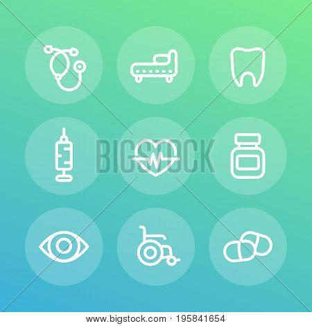 medical icons set in linear style, eps 10 file, easy to edit
