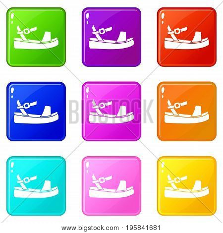 Women sandal icons of 9 color set isolated vector illustration