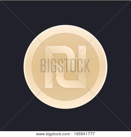 shekel, israeli coin vector icon, eps 10 file, easy to edit