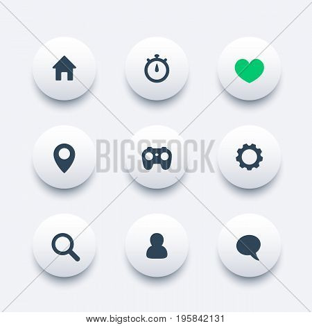 Basic web icons, vector pictograms set, eps 10 file, easy to edit