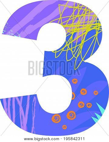 Vector illustration of a number three with abstract pattern. Birthday card.
